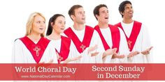 Every second Sunday of December, choral groups around the world gathers together to do what they do best: SING! It's also a day for choirs to use their gift of music to extol the values of solidarity, peace, and understanding. Metal Building Kits, National Day Calendar, Singing Hallelujah, World Days, What Day Is It, Holiday Calendar, Church Building, National Holidays, Steel Buildings