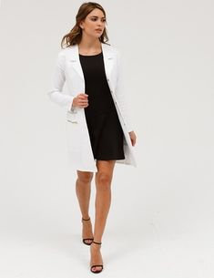 The Signature Lab Coat in White is a contemporary addition to women's medical outfits. Shop Jaanuu for scrubs, lab coats and other medical apparel. Doctor White Coat, White Lab Coat, White Coats, White Coat Ceremony, Female Doctor, Woman Doctor, Lab Coats, Professional Outfits, Work Wardrobe