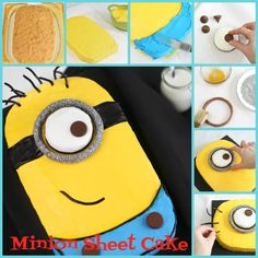 minion cake | This cute Minion sheet cake is sure to delight!