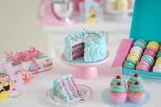 1:6 Scale Miniature Vintage Birthday Cake Set by SweetPetiteShoppe