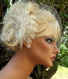 IVORY Birdcage Veil Fascinator Bridal veil, wedding hair clip feather fascinator