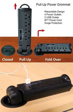 The Retractable Pull-Up Power Tap Grommet provides 4 125V AC outlets with a total of 12A intensity, and also 2 5V USB Ports to charge portable devices.