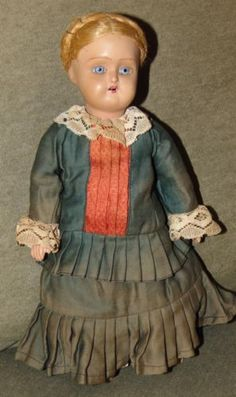 ANTIQUE-BISQUE-Doll-BEAUTIFUL-BLUE-EYES-Unmarked-GERMAN-Antique-Clothes