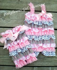 Baby Girl Pink & Gray Chevron Lace Satin by PinkaliciousGirl, $14.95