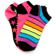 Neon Stars and Stripes Socks ❤ liked on Polyvore