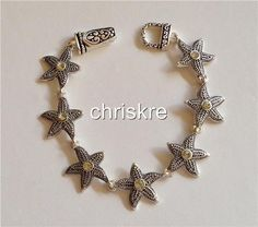 Silver Plated Starfish Charm Bracelet Crystal Shells Star Fish Beach Sea Life US #HopeCollection #Traditional