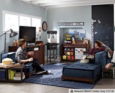 Teen Game Rooms & Cushy Stadium Lounge | PBteen- basement idea!