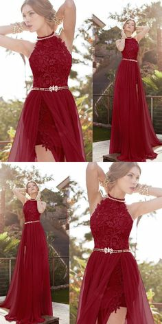 Charming Burgundy Tulle Round Neck A-Line Long Prom