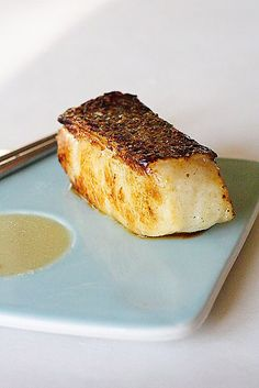 Miso-Marinated Sea Bass recipe - I love Chilean sea bass–the flesh is always so moist, tender, silky, and sweet. I also love the texture and the mouth feel of Chilean sea bass…it's absolutely perfect for this miso recipe. #japanese #seafood