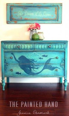 Dresser Makeover Ideas Coastal, Beach & Nautical Style Painted Mermaid Dresser for the whimsical beach cottage!Painted Mermaid Dresser for the whimsical beach cottage! Beach Cottage Style, Beach Cottage Decor, Coastal Style, Coastal Decor, Coastal Cottage, Coastal Living, Boho Decor, Coastal Furniture, Funky Furniture