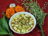 Ugadi Pachadi :-  Ugadi Pachadi is an amazing concoction of 6 tastes - sweet,tangy, bitter,sour,hot and saltiness.It is prepared during  UGADI Festival (Indian new year).