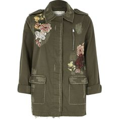 River Island Khaki floral embroidered army jacket ❤