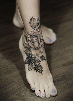 Black Rose Ankle Tattoo
