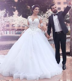 Find More Wedding Dresses Information about DK Bridal Robe De Mariee 2017 Long Sleeves White Wedding Dresses African Muslim Bridal Ball Gown With Appliques,High Quality dress ballet,China gown dress up Suppliers, Cheap gown wedding dress from DK Bridal Dresses Store on Aliexpress.com