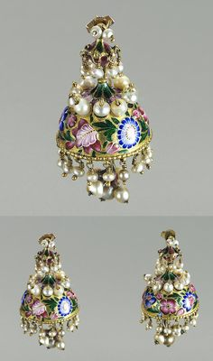 Persia | Earrings; gold and enamel, pearls | 19th century | 2'390£ ~ sold (Apr '04)