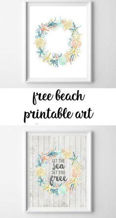 coastal-inspired summer printable art - all crafty things Beach Wall Decor, Bathroom Wall Decor, Master Bathroom, Bathroom Ideas, Eclectic Decor, Coastal Decor, Cheap Home Decor, Diy Home Decor, Free Printable Art
