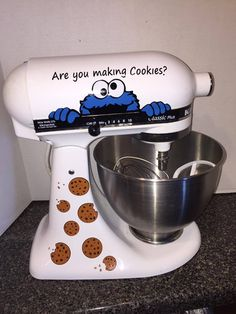 Cookie Monster With Cookies and Crumbs Kitchenaid Stand Mixer Decal - tammie mcmahon