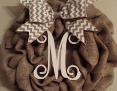 Burlap pull through wreath with monogram and ribbon