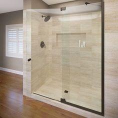 "Basco Cantour 42"" x 76"" Pivot Door and Panel Shower Door Trim Finish: Chrome, Glass Type: Clear Glass"
