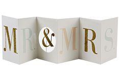'Mr & Mrs' Glitter Banner Card