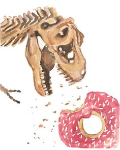 I'm totally in love with this Original Dinosaur Watercolor Painting - Sprinkle Donut, Original Watercolour, 8x10 Painting, Funny Watercolor