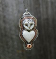 Porcelain Owl . Wildlife . Statement Necklace . Hand by NINandBUMM