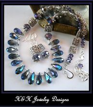 Beautiful  irridescent blue crystal teardrop necklace set.  H&H Jewelry Designs on Ruby Lane.