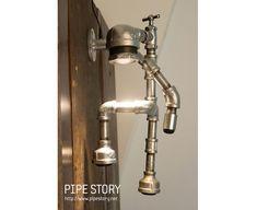PIPESTORY - lampe tube / lampe tube de fer / industriel lampe lampe /Vintage / Steampunk Light / lampe de Table