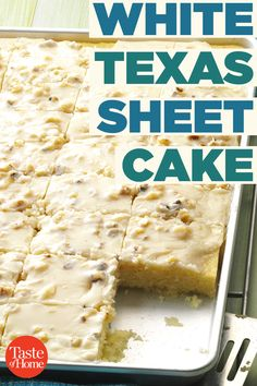 If you're craving sheet cake you don't have to settle for chocolate! This homemade White Texas Sheet Cake has a simple frosting and classic white cake flavor. Don't forget the sprinkles! White Sheet Cakes, White Texas Sheet Cake, Vanilla Sheet Cakes, Sheet Cake Recipes, Cake Mix Recipes, Baking Recipes, Meal Recipes, Frosting Recipes, Almond Sheet Cake Recipe