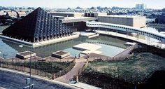 """modernism-in-metroland: """" Bletchley Leisure Centre by Faulkner-Brown Hendy Watkinson and Stonor. Leisure complex including a swimming pool enclosed in a galvanised steel pyramid and walkways. Milton Keynes, Brutalist, Amazing Architecture, Back In The Day, Swimming Pools, Construction, Exterior, Modernism, Mansions"""