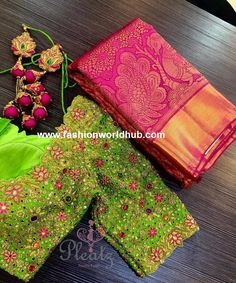 Main pakka Can not stop admiring this jewel blouse! Love all the colours! Stunning pink color pattu saree and parrot green color designer blouse with floral design hand embroidery saree work. Wedding Saree Blouse Designs, Pattu Saree Blouse Designs, Fancy Blouse Designs, Saree For Wedding, Pattu Sarees Wedding, Gold Wedding, Wedding Dresses, Blouse Back Neck Designs, Pink Saree Blouse