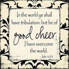 John 16:33  These things I have spoken unto you, that in me ye might have peace. In the world ye shall have tribulation: but be of good cheer; I have overcome the world. (KJV)