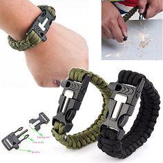 Survival #bracelet outdoor paracord #flint fire #starter scraper whistle gear set,  View more on the LINK: http://www.zeppy.io/product/gb/2/381397363959/