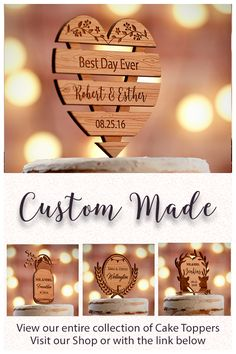 Free Shipping on ALL Custom Made Cake Toppers. Made out of Premium American Alder Wood.