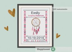 cross stitch baby birth sampler birth announcement dreamcatcher by Happinesst