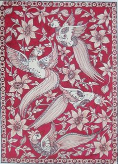 Pin by Shweta Deshmukh on Kalamkari paintings Kerala Mural Painting, Indian Art Paintings, Madhubani Art, Madhubani Painting, Kalamkari Designs, Kalamkari Painting, Peacock Painting, Indian Folk Art, Turkish Art