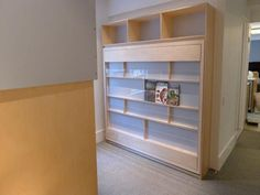 murphy bed with book shelf front / plexiglass panels to hold the books in place.