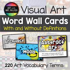 Elementary Art Word Wall Cards (With and Without Definitions) - Annecorinne Darridon Art Classroom Management, Classroom Organization, Classroom Decor, Class Management, Elements And Principles, Elements Of Art, Vocabulary Word Walls, Bulletin Board Letters, Art Education Resources