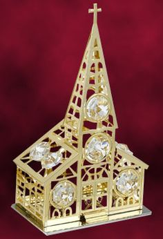 24 Kt gold plated Church studded with swarovski crystals. http://www.tajonline.com/christmas-gifts/product/hge23/24-kt-gold-plated-church-studded-with-swarovski-crystals/?aff=pint2013/