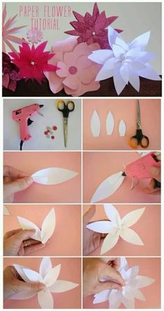 paper lotus flower tutorial for a happy home Tissue Paper Flowers, Paper Flower Backdrop, Felt Flowers, Diy Flowers, Fabric Flowers, Diy Paper, Paper Crafts, Paper Lotus, Origami