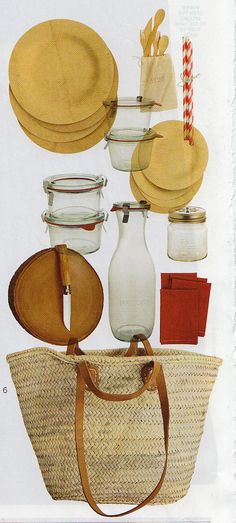 Do-it-yourself picnic basket- these are items you can get at the grocery store and Bed, Bath & Beyond- makes a great house warming gift or even a wedding present- fill the jars with goodies and give to the happy couple who may be taking a road trip for their honeymoon.