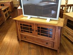 Television stand with angled sides, mission style