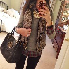 herringbone / tweed vest, plaid shirt, grey sweater, plus chunky pearl necklace