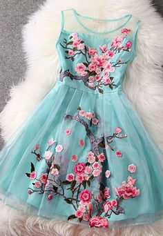 Flower Embroidery Spring Dress l aqua & pink