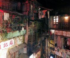 Anata No Warehouse kawasaki, jp This faux-seedy Japanese arcade is made up to look like a maze of alleys straight out of a cyberpunk dystopia. Kowloon Walled City, Dalai Lama, Cyberpunk City, Dark City, Cityscape Art, Environment Concept, Slums, Abandoned Places, Urban Decay