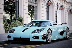 Tiffany blue sports car