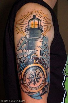 Lighthouse tattoo I plan on getting the outter banks lighthouse on my arm to start my half sleeve . My heart has always belonged there Ancora Old School, Small Tattoos, Cool Tattoos, Ship Tattoos, Dad Tattoos, Arrow Tattoos, Tattoo Small, Unbreakable Tattoo, Traditional Lighthouse Tattoo