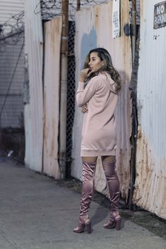 www.streetstylecity.blogspot.com  Fashion inspired by the people in the street ootd look outfit sexy high heels legs woman girl dress minidress otk boots knee thigh fashion-blogger-raquel-paiva-wears-pink-sweatshirt-dress-pink-boots