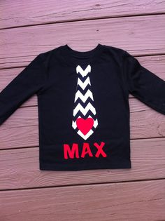 Custom children's clothing. Boys personalized Valentine tie shirt with name. Black white chevron. Red or pink heart. By EverythingSorella