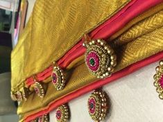 How to Make Saree Tassel/Kuchu design with Beads @ Home - Design - . Saree Tassels Designs, Saree Kuchu Designs, Kurti Embroidery Design, Hand Embroidery, Traditional Blouse Designs, Maggam Work Designs, Thread Bangles, Latest Designer Sarees, Indian Designer Wear